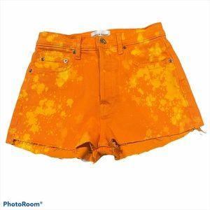 COTTON CITIZEN orange tie dye denim shorts